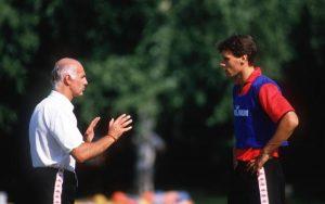 Arrigo Sacchi e Marco van Basten durante un allenamento