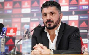 Gennaro Gattuso durante la conferenza stampa di presentazione da allenatore del Milan