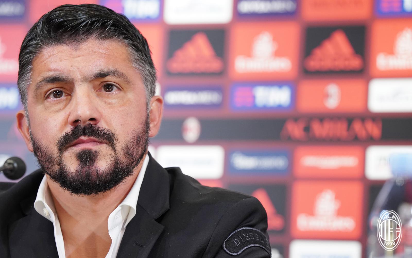 Gennaro Gattuso nella conferenza stampa di presentazione da allenatore del Milan. È nato il Milan di Gattuso