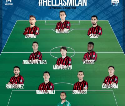 La probabile formazione rossonera di Hellas Verona-Milan, Serie A 2017-18