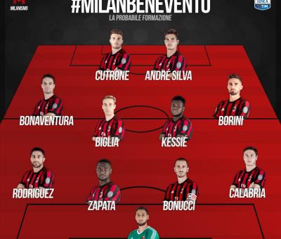 La probabile formazione di Milan-Benevento, 34° giornata di Serie A 2017-18