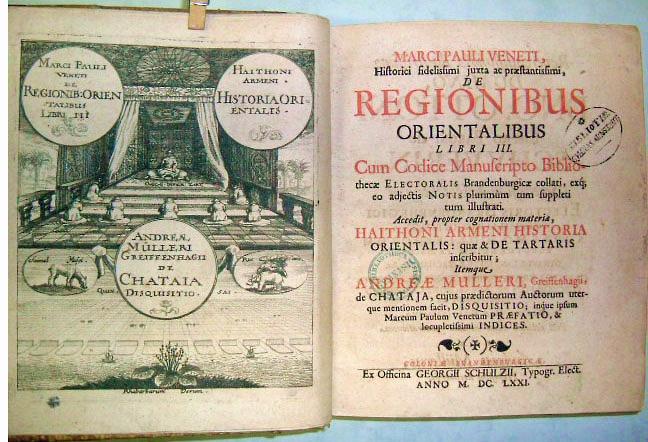 Milione De regionibus Orientalibus libri III 1671