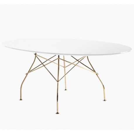 table glossy plateau ovale en verre structure dore milano design store