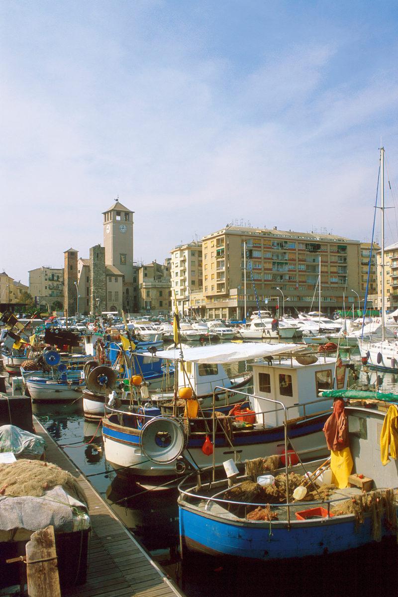 Savona, scorcio del porto. Sullo sfondo la torre del Brandale.