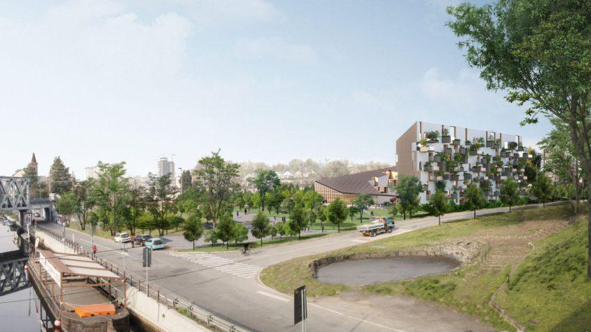 Corte Verde San Cristoforo di Stefano Boeri Architetti Arassociati vista dal cavalcavia di viale Cassala