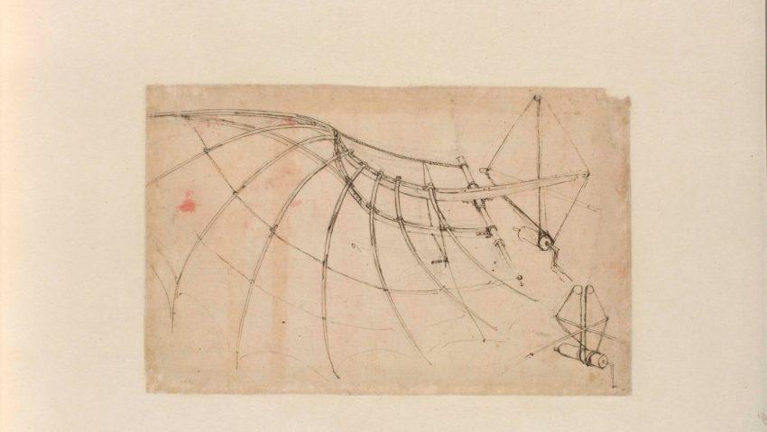 Leonardo da Vinci, Studio di ala meccanica, penna e inchiostro, c. 1578-80, Codice Atlantico.