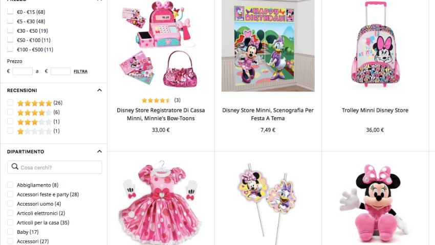 I prodotti di Minnie sul sito ShopDisney