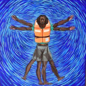 Naufrago in versione Da Vinci dello street artist Taglieri