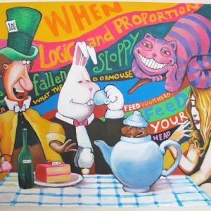 La fantastica interpretazione dello street artist di Alice e il paese delle meraviglie