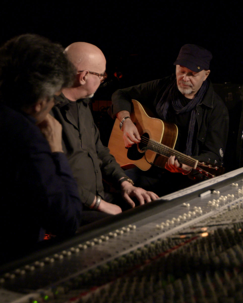 Vasco Rossi negli studi di Fonoprint con Gaetano Curreri e Maurizio Biancani