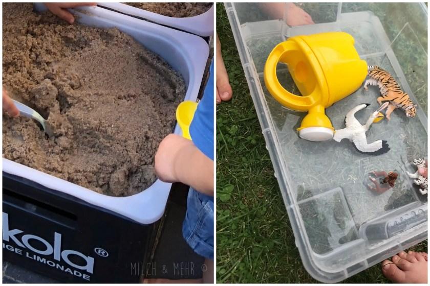 Partyspiel fuer Kleinkinder Tiere im Sand suchen