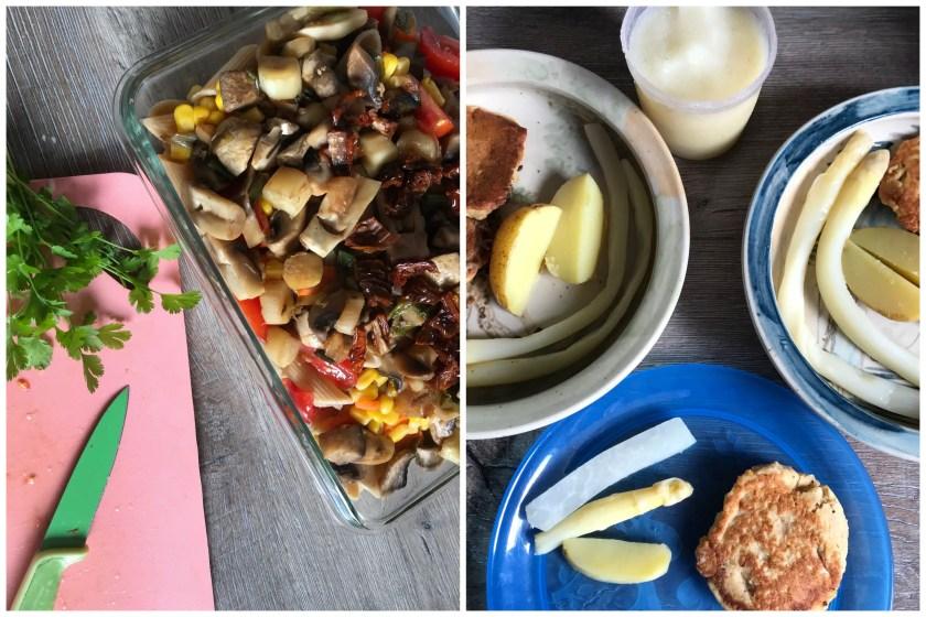 Vorkochen Meal Prep Gemuese Auflauf Kichererbsen Puffer