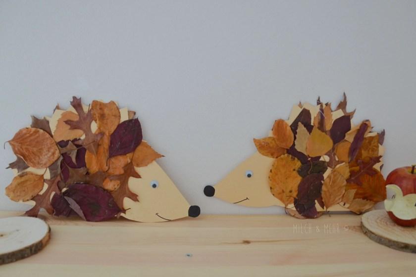 Herbst Bastelidee mit Naturmaterial Blaetterigel