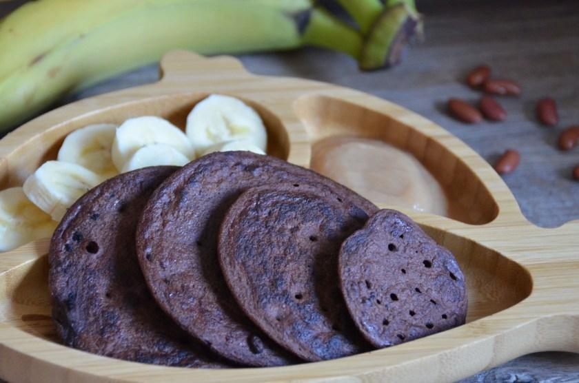 vegane Pancakes mit Banane Kidneybohnen Kakao