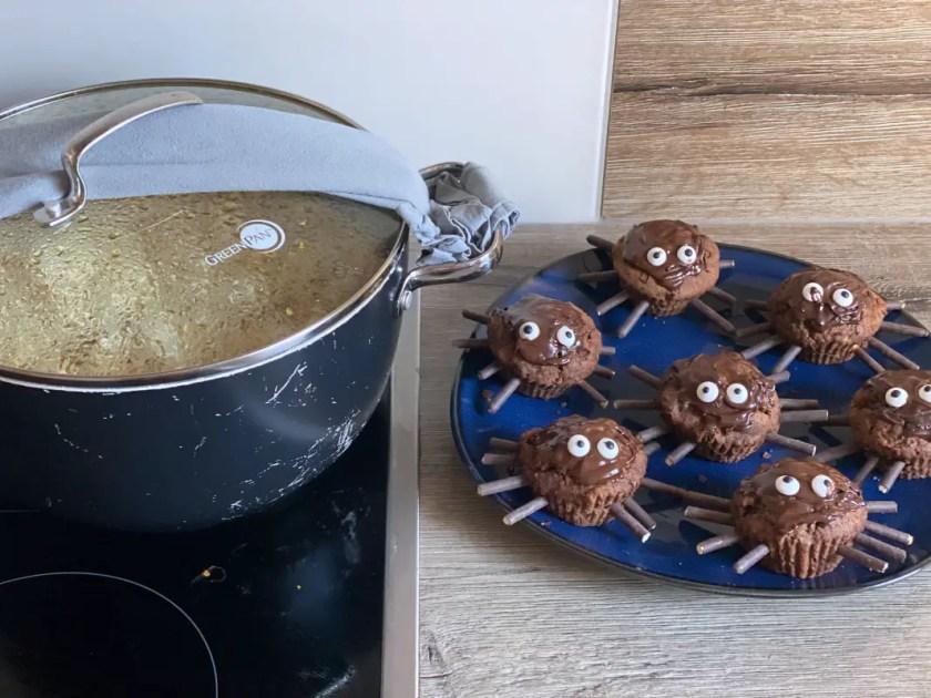 Spinnenmuffins Popcorn