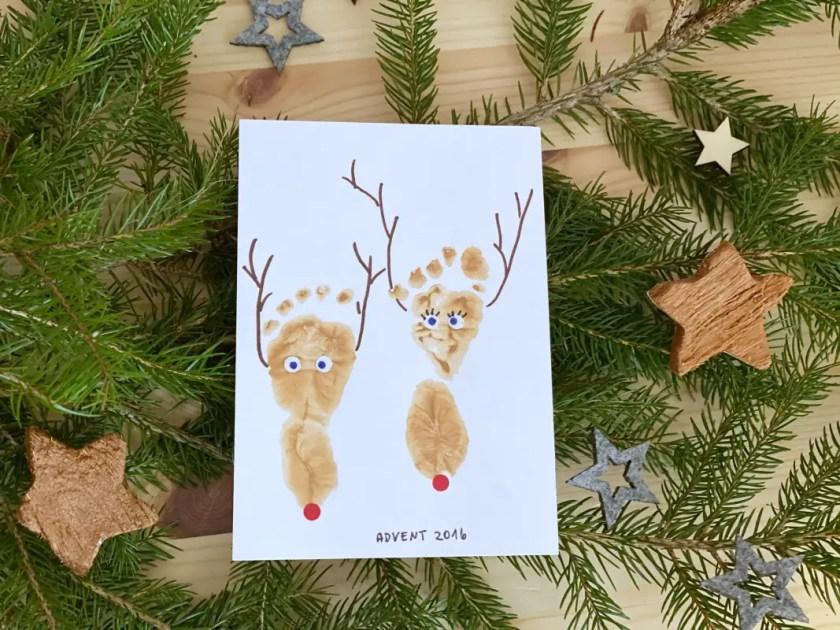 Baby Fußabdruck Rentier Weihnachten