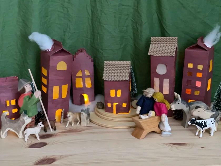 Milchtueten Haueser Weihnachtsdorf