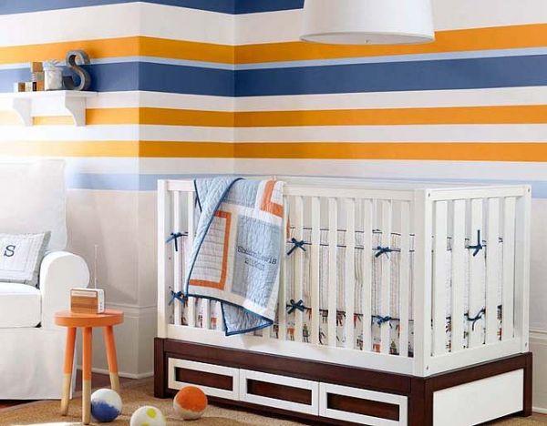 quarto bebe azul e laranja menino