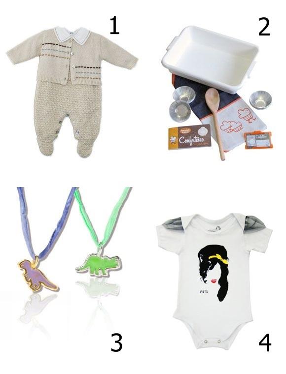 1 - Tricôs para bebês, da Mariah Pimenta 2 - Brinquedos e acessórios, da Ó Design 3 - Jóias fofíssimas, da Silvana Guinalz 4 - Moda divertida da L´Enfant du Rock