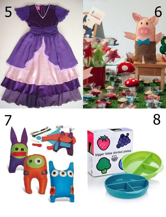 5 - Fantasias e roupas de brincar, da Contos de Vestir 6 - Decoração para festas, da Minimimo Gifts 7 - Brinquedos educativos, da Alegria sem Bateria 8 - Produtos sustentáveis para bebês, da BB Natural