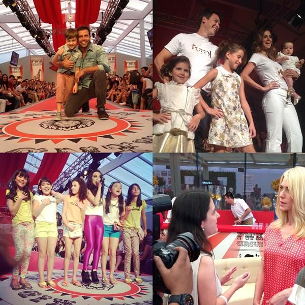 Em sentido horário: Henry Castelli com o filhote no desfile da VR Kids; Rodrigo Faro e Vera Viel com as três filhas no desfile da Tyrol; entrevistando Letícia Spiller; as meninas de Carrossel e Chiquititas para Animê.