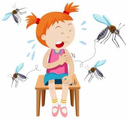 menina com picadas de mosquito