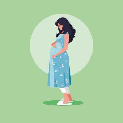 ilustração de uma mulher grávida de pijama