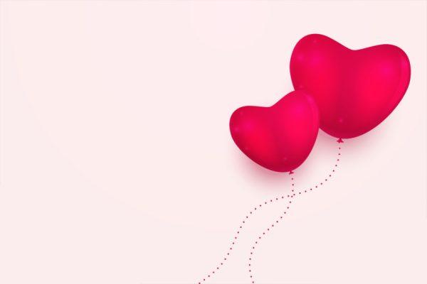 balões no formato de coração para representar o amor