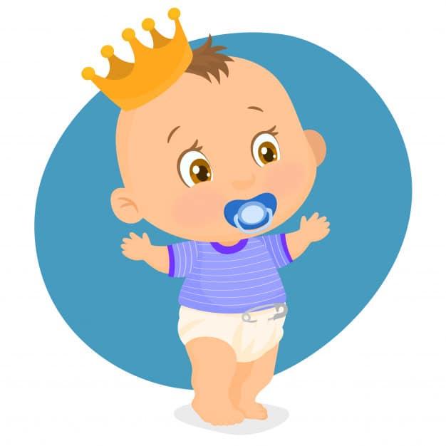 Bebê com coroa na cabeça e chupeta