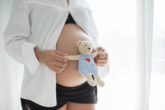 Mulher gravida segurando um urso
