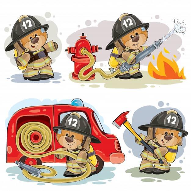 Desenho de ursinho bombeiro