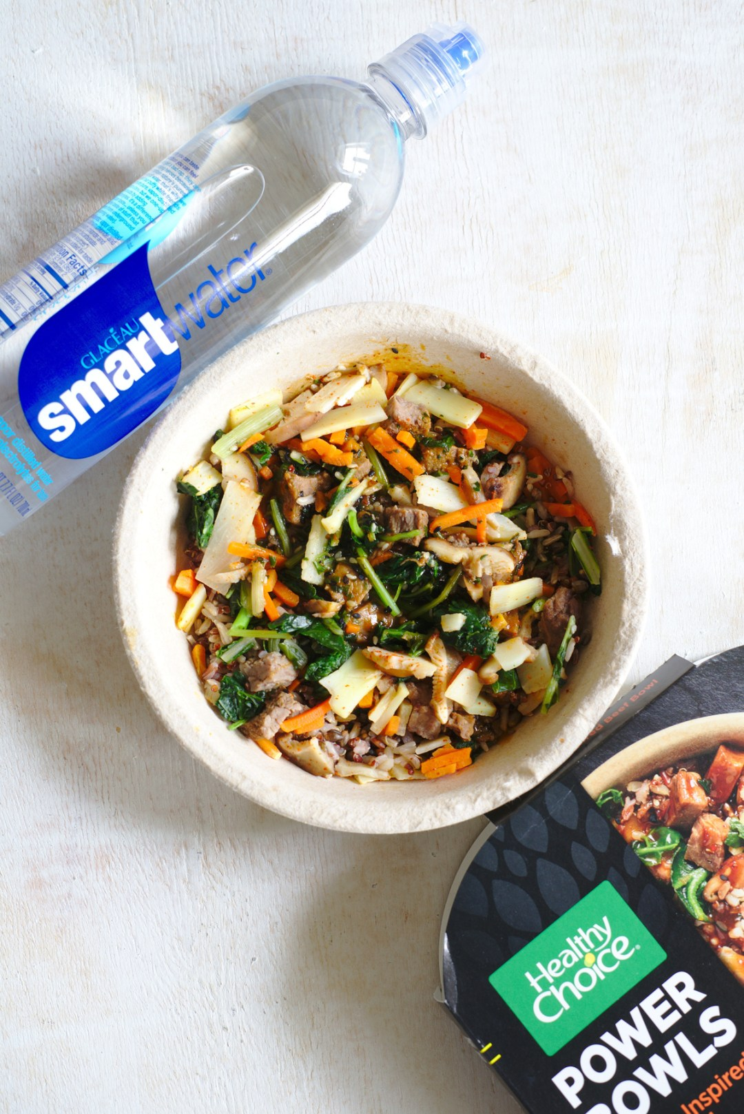 Healthy Choice Korean-Inspired Beef Bowl and smartwater