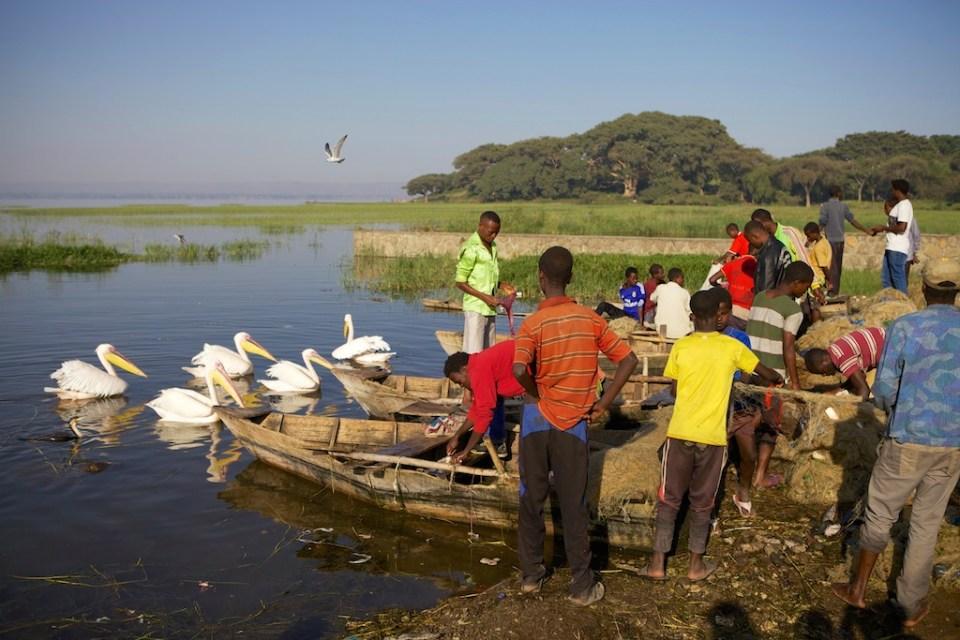 Fishermen and their boatsat Lake Hawassa, Ethiopia