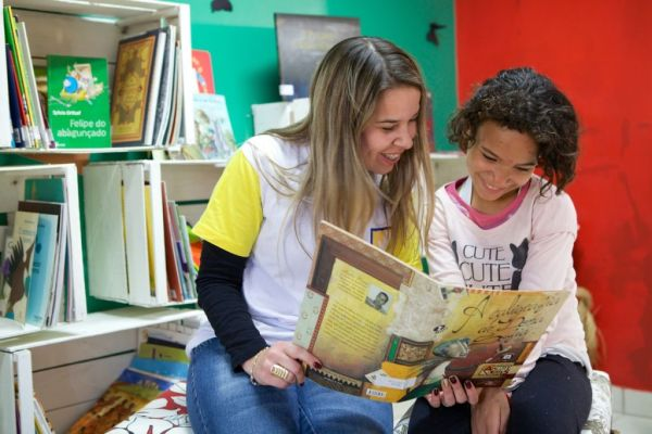 A community library project in Brazil where children are learning to read.