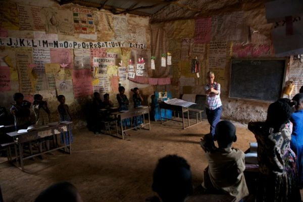 A VSO volunteer teaching in a classroom in Ethiopia, Africa.