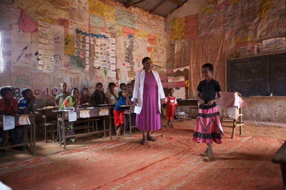 A teacher in a classroom in Ethiopia