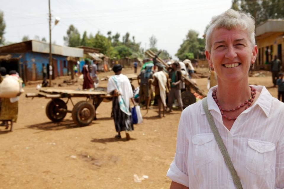 A British lady in an Ethiopian market, Africa