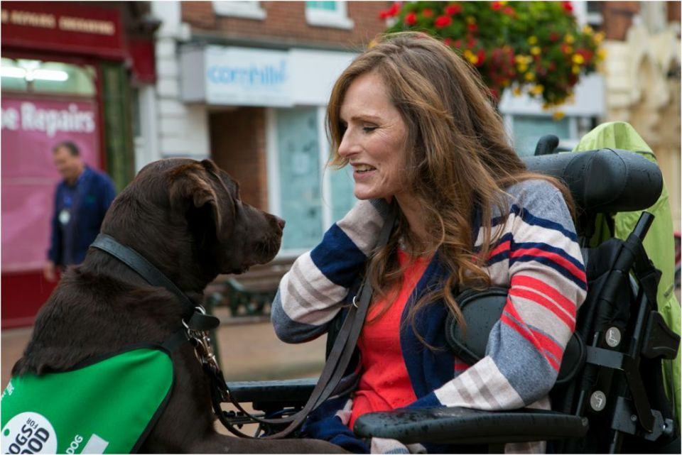 A photo showing the relationship between a lady and her assistance dog