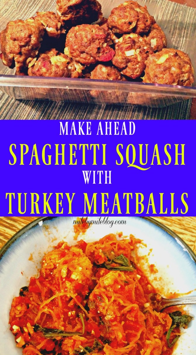 A healthy and easy make-ahead dish. Prep the turkey meatballs and spaghetti squash ahead of time, and put the meal together when you're ready to eat! Or make it all at once and reheat for a quick lunch or dinner.