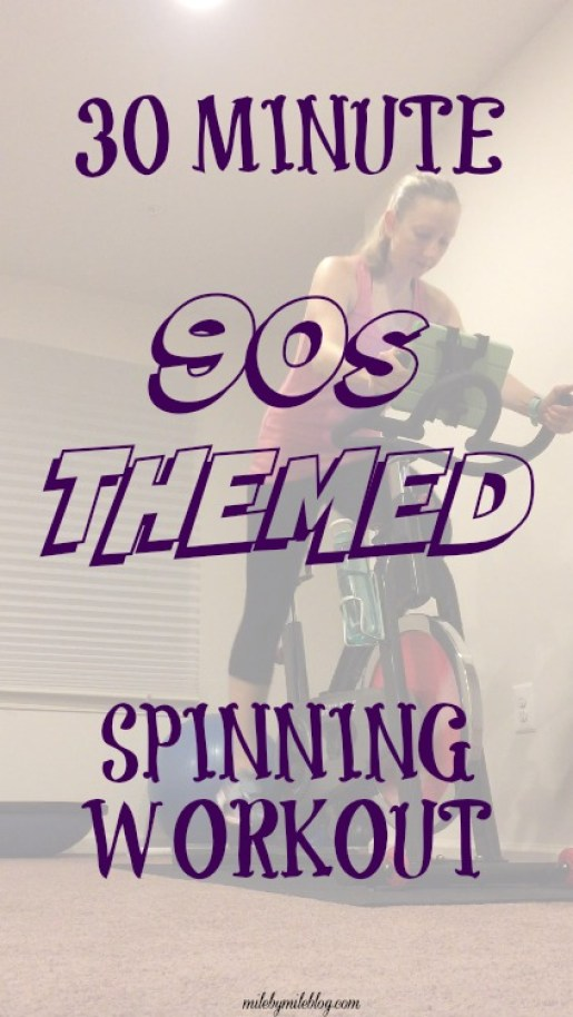 Try this 30 minute 90s music themed spinning workout to get your heart pumping! These sounds will have you dancing in your bike seat while you get in a good workout #spinning #workout