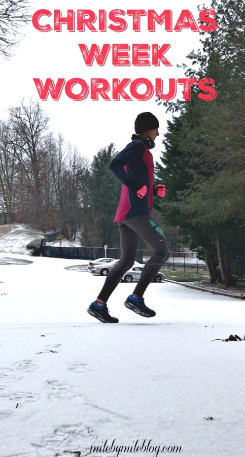 Christmas week workouts included treadmill miles while traveling, really cold runs outside, and getting sick. Click post to read more about my workouts over the holiday break!