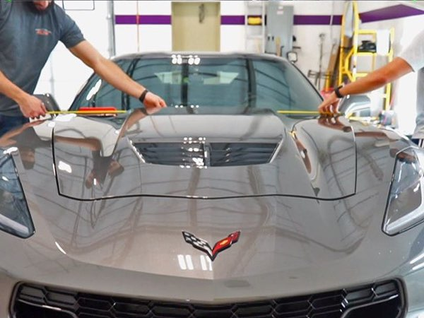Mile High Customs working on a Corvette