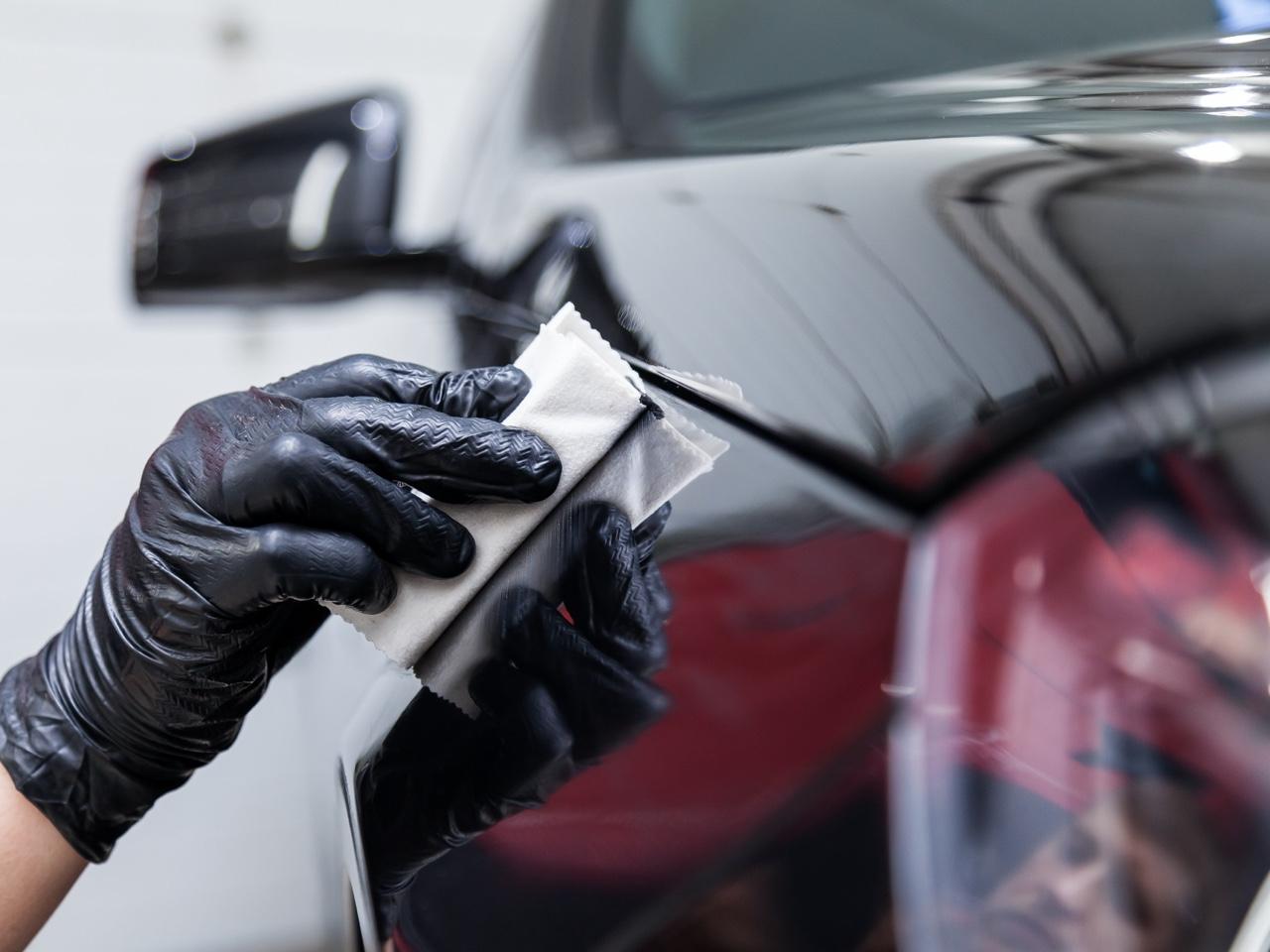 applying ceramic coating to a black car
