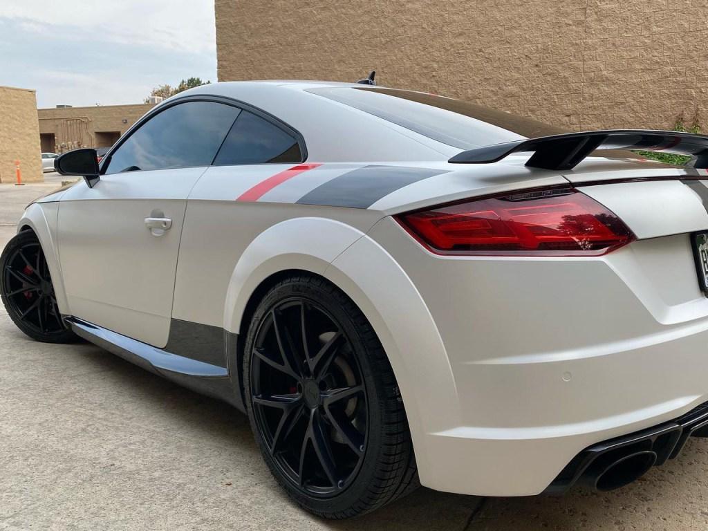 Audi TTRS vinyl wrap racing stripes side view