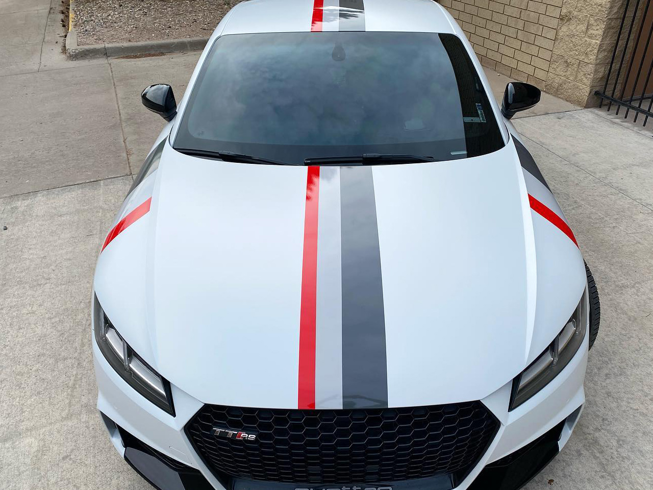 Audi TTRS vinyl wrap racing stripes