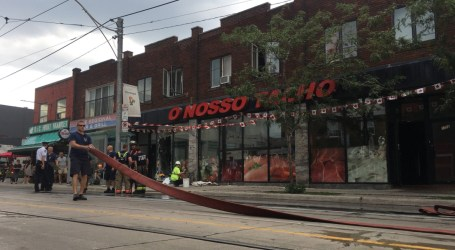Fire shuts down part of Dundas Street West in Little Portugal