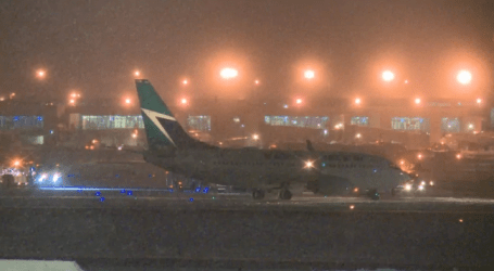 WestJet flight slides off Pearson taxiway, gets stuck in snow for 2 hours