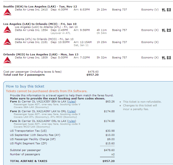 Click for larger view.  These were also some of the least expensive flights--something to consider when pricing out award tickets is not just the flights you end up booking, but also the lowest cost ones, as you'd likely buy those anyway.