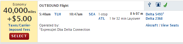 As a straight one way search Delta takes the miles for this flight (20,000) and doubles them.