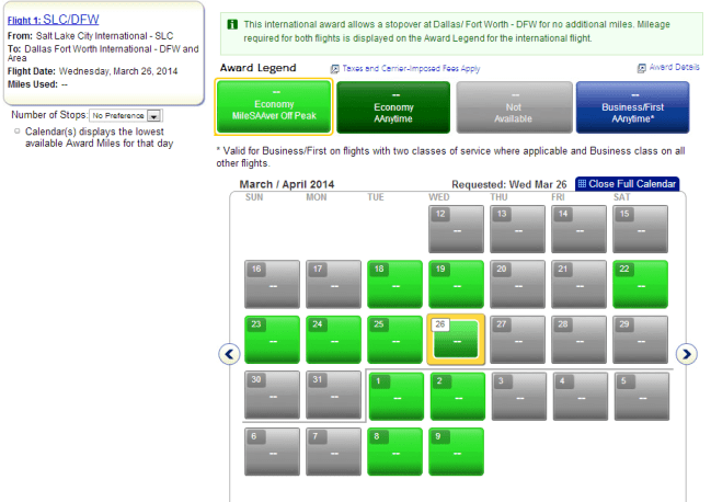 Because AA miles are less flexible to use than WN Maria will want to work backward--picking a return date off of this calendar and then booking the outbound WN flights based on that. All searches are for 4 seats
